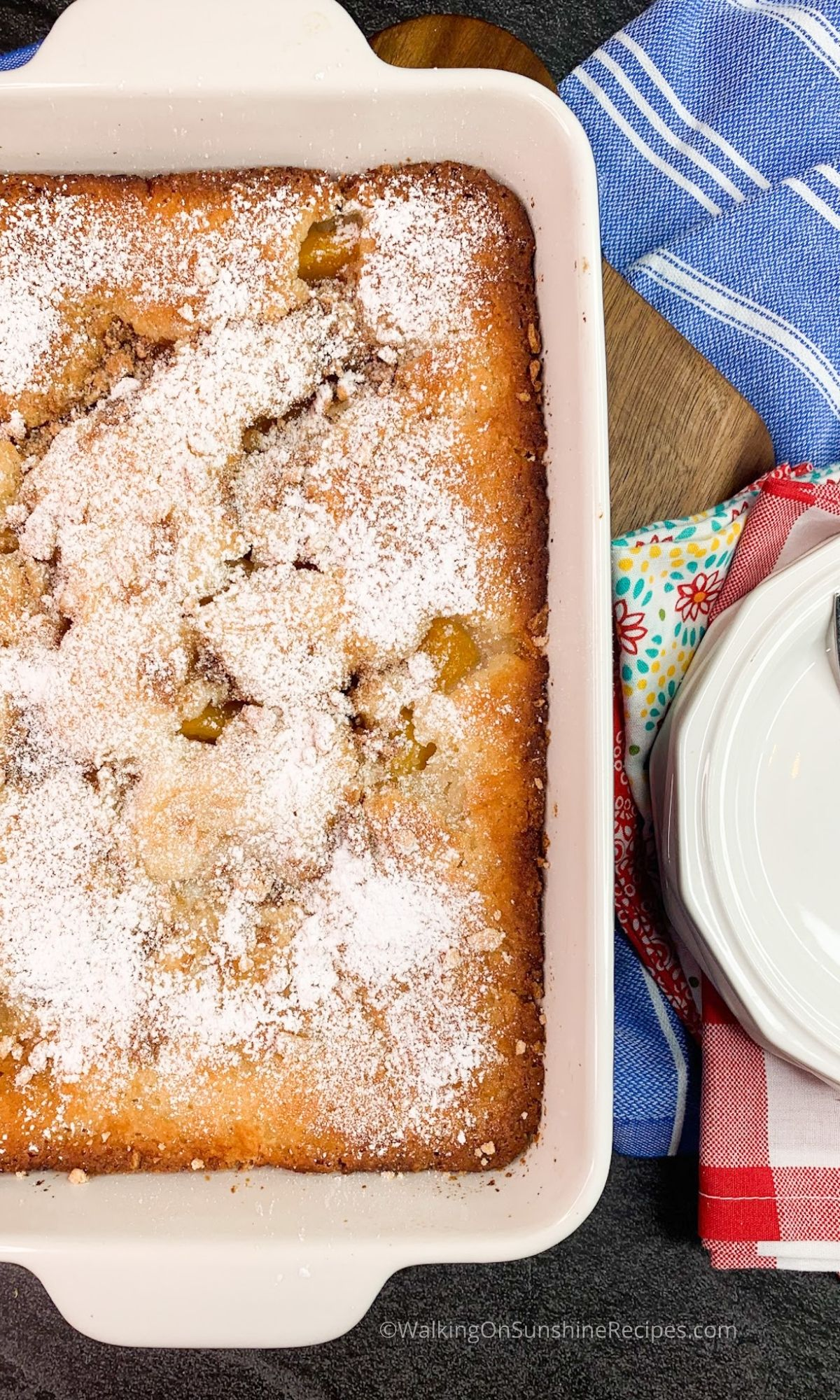 Baked Peach Cobbler with Cinnamon Toast Crunch Cereal.