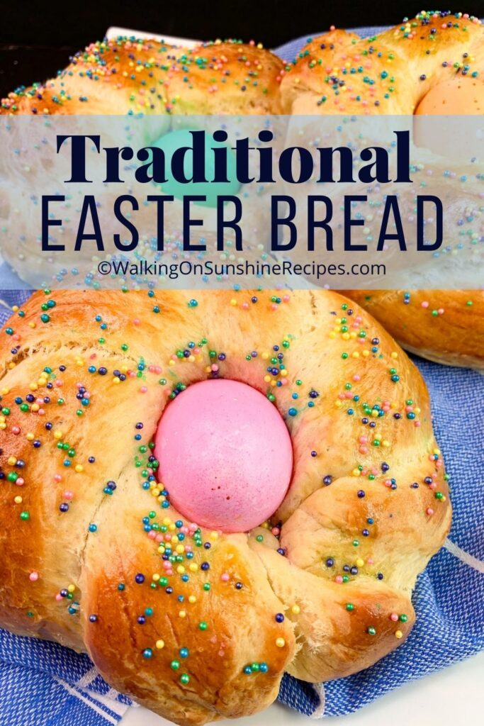 traditional Easter bread with pink dyed egg.