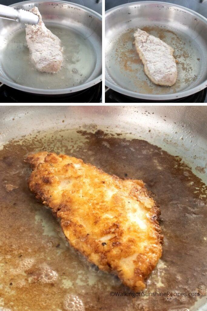 Frying chicken cutlets.
