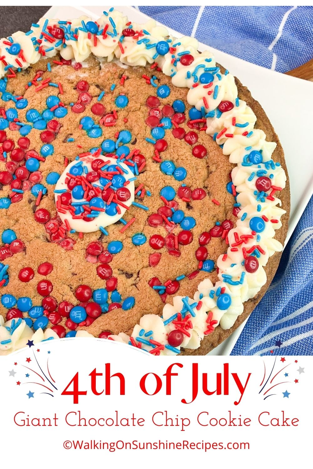 full sized chocolate chip cookie cake decorated in red, white and blue.