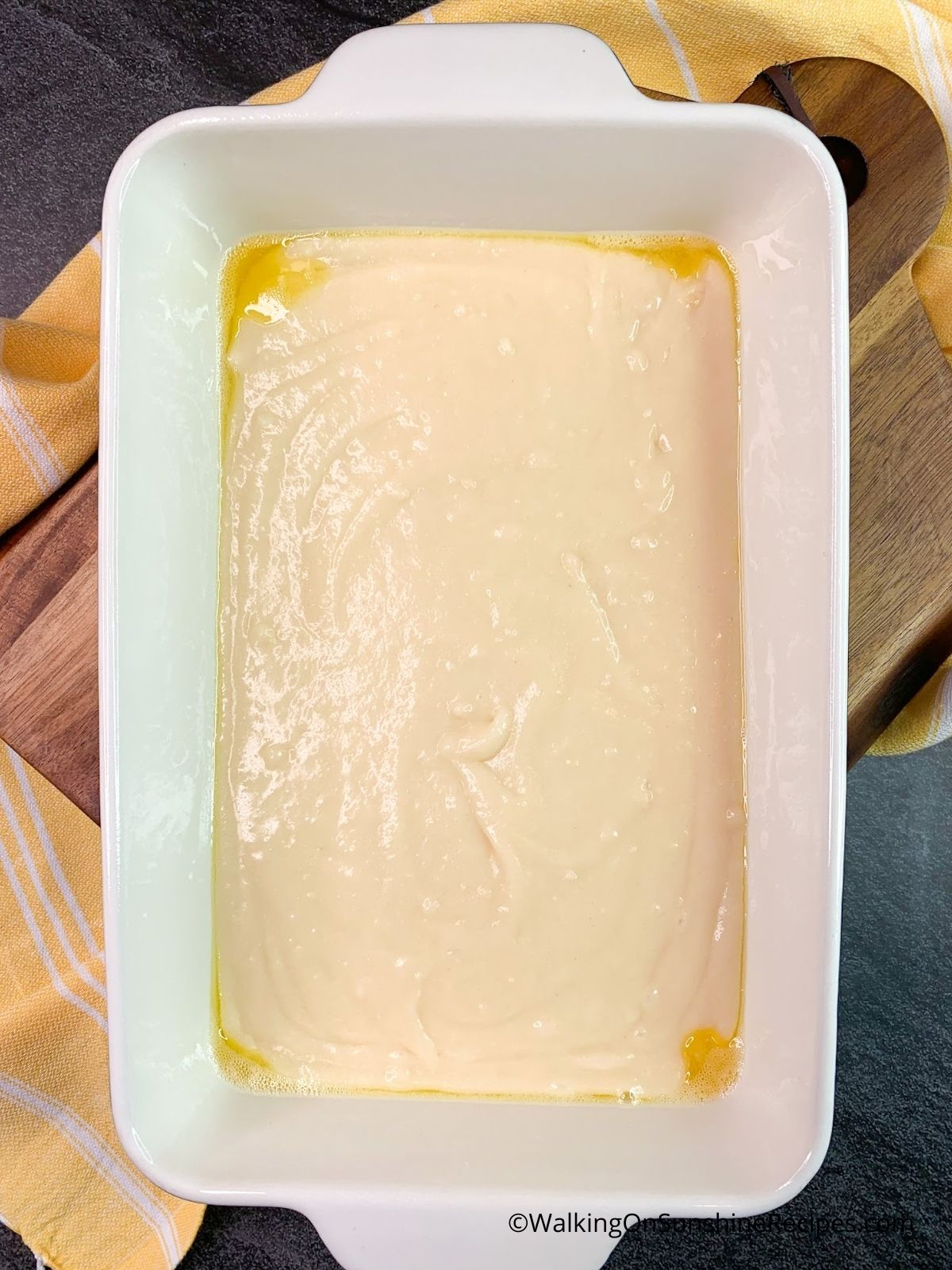 Add batter to baking dish.