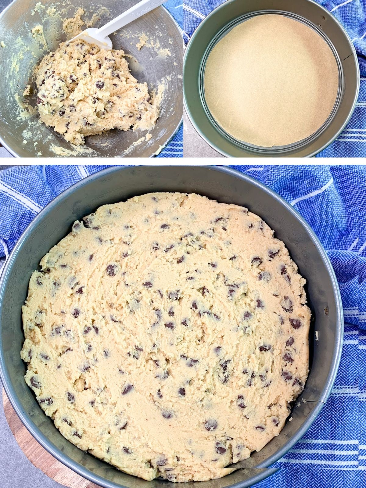 Chocolate Chip Cookie Dough in baking pan.