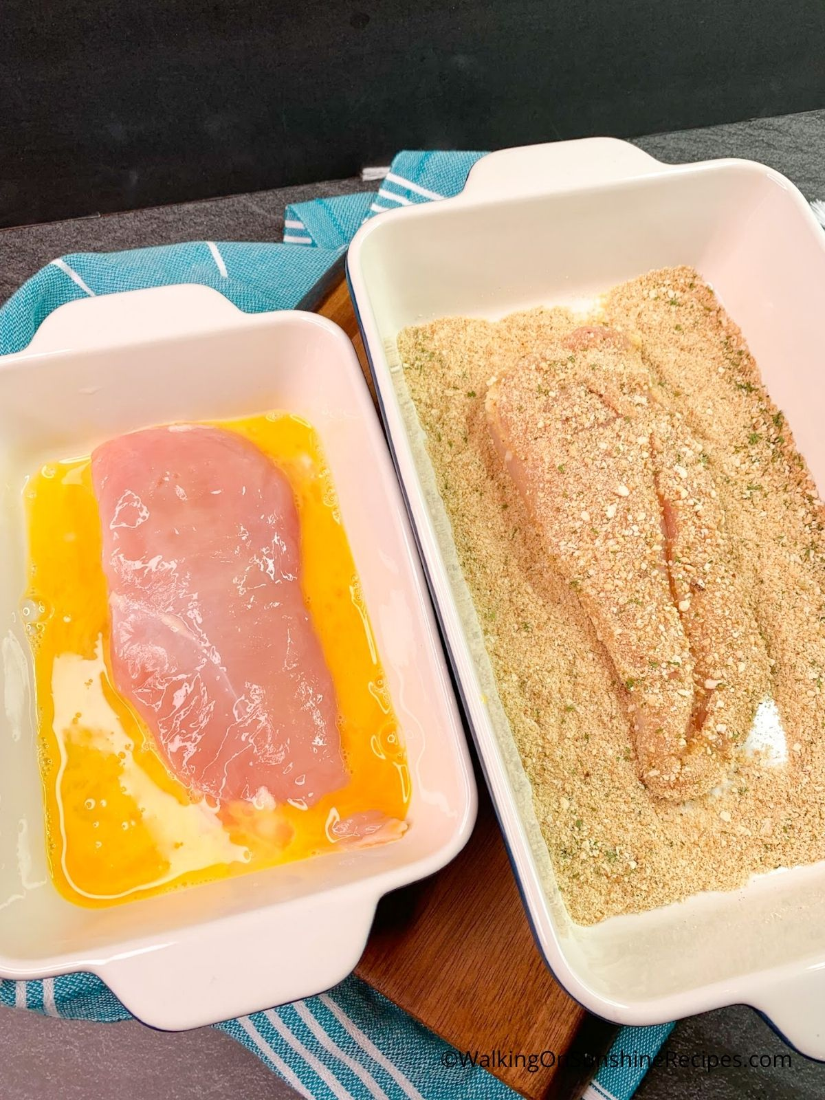Dip chicken in eggs and breadcrumbs.