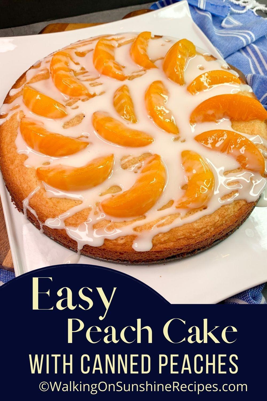 Homemade cake with peaches and powdered sugar glaze.