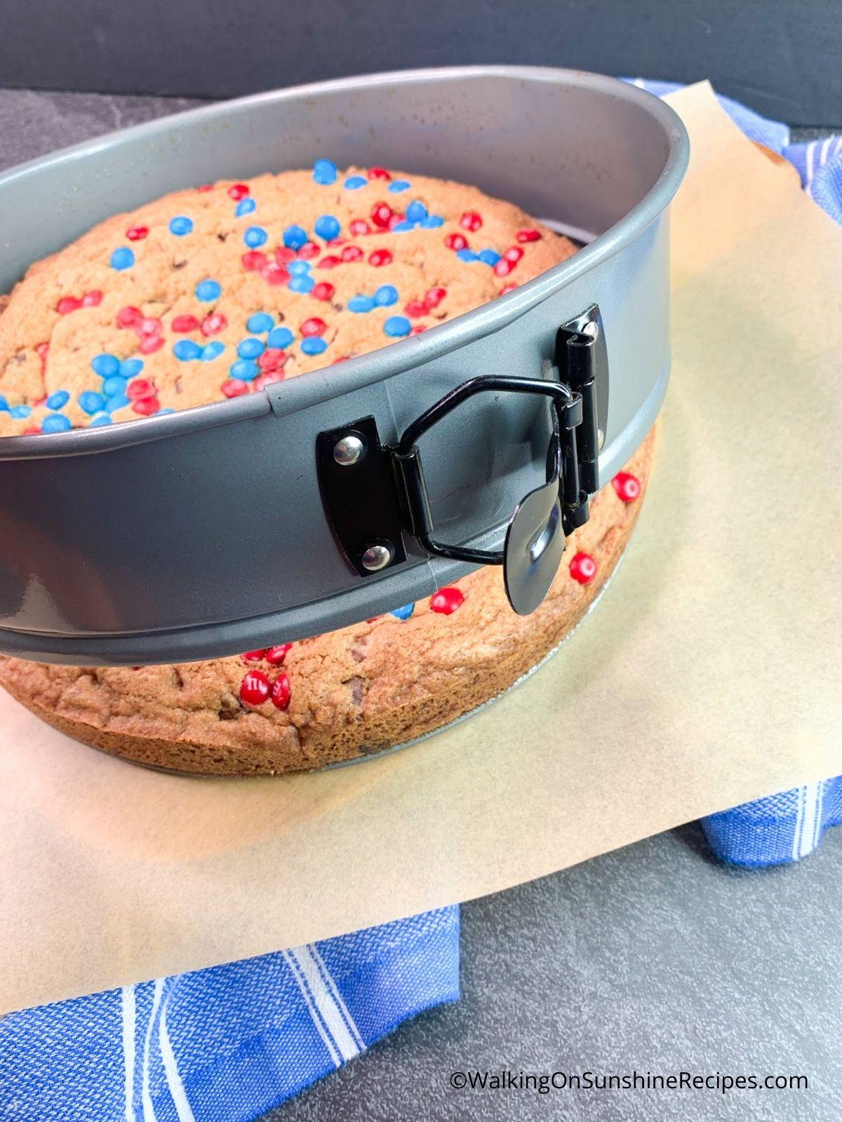Giant Cookie Cake in Springform Pan.