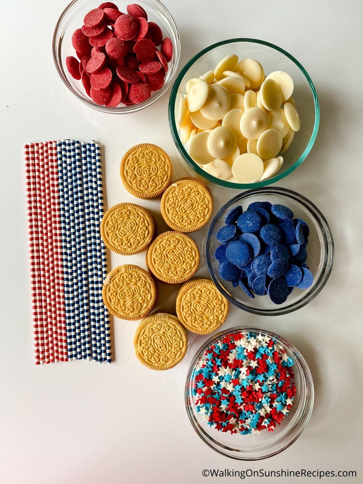 Ingredients for Oreo Patriotic Treats.