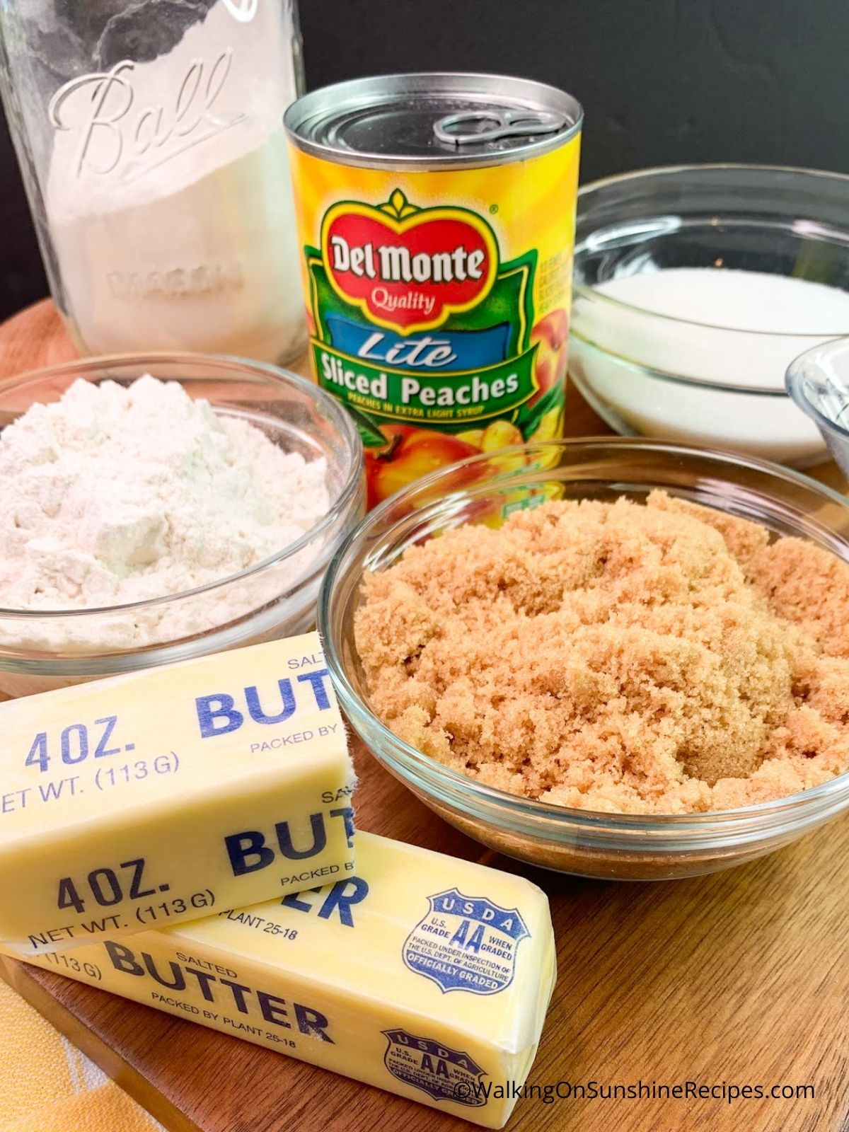 Ingredients for Peach Cobbler with Brown Sugar Crumble
