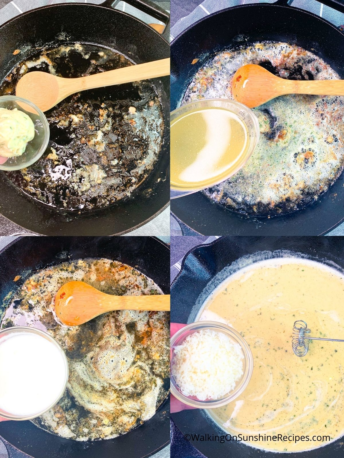 Make homemade garlic butter sauce in cast iron skillet.