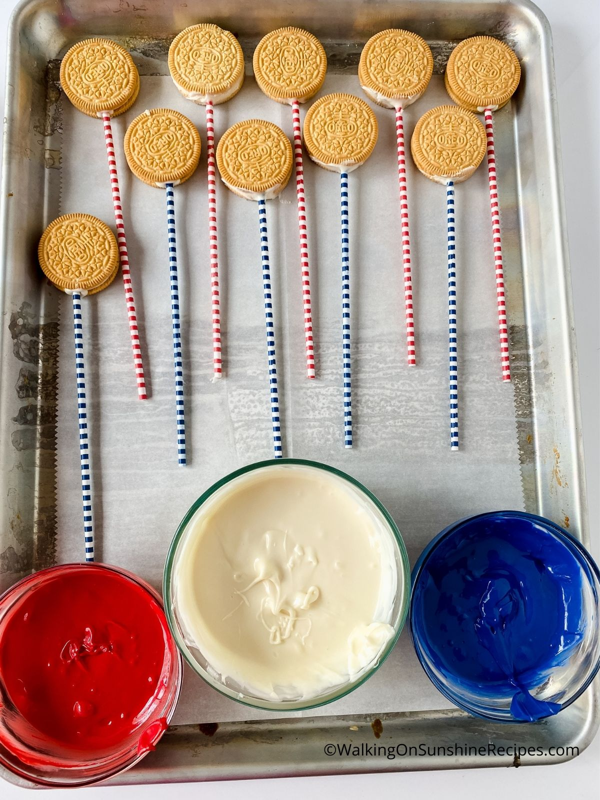 Melted Red, White and Blue Chocolate for Oreo Treats.
