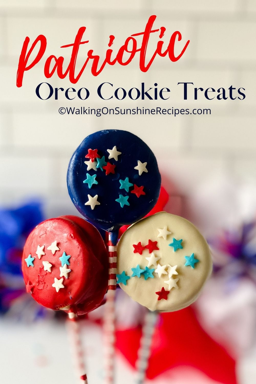 Patriotic Oreo Treats on Lollipop Sticks.