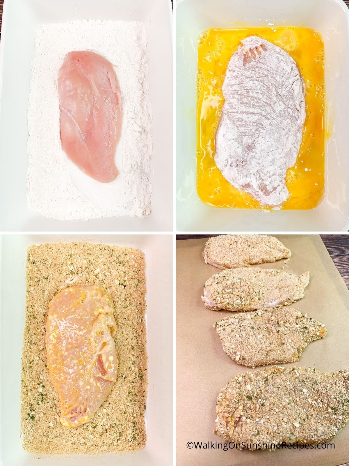 Prepping chicken cutlets in flour, egg and breadcrumbs.