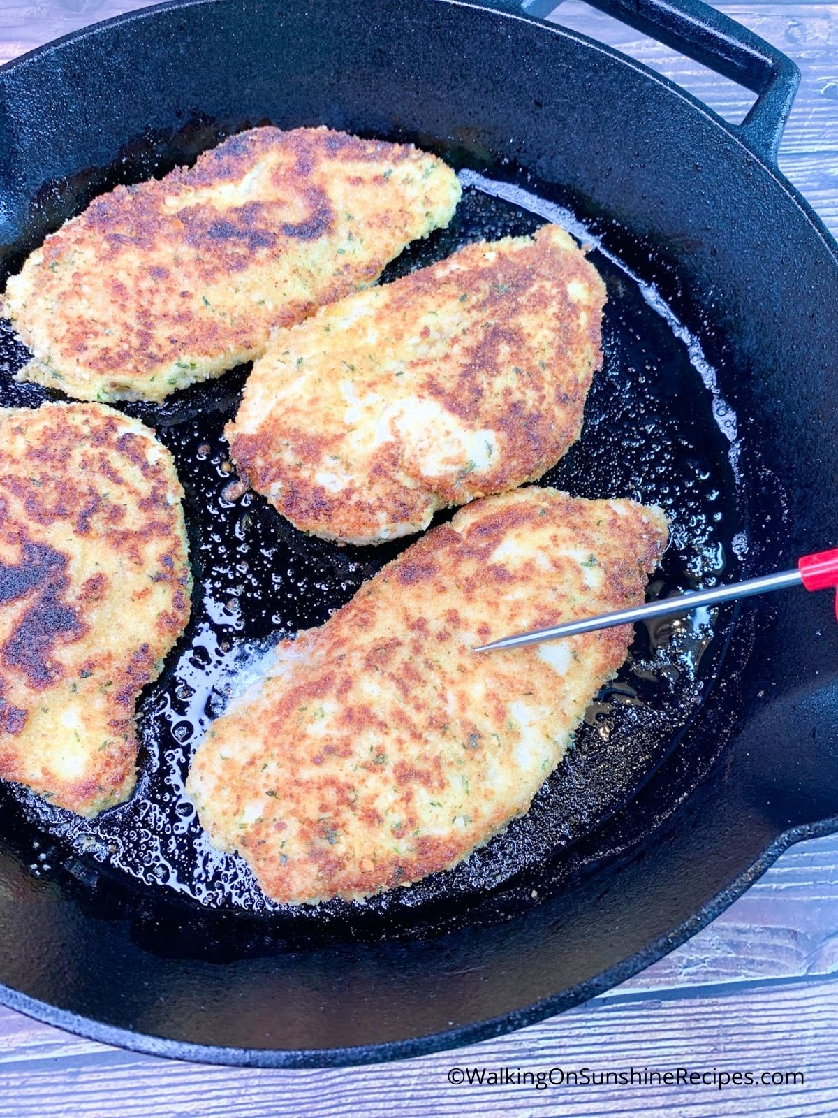 Test chicken cutlets with instant read thermometer to ensure internal temperature at 165.