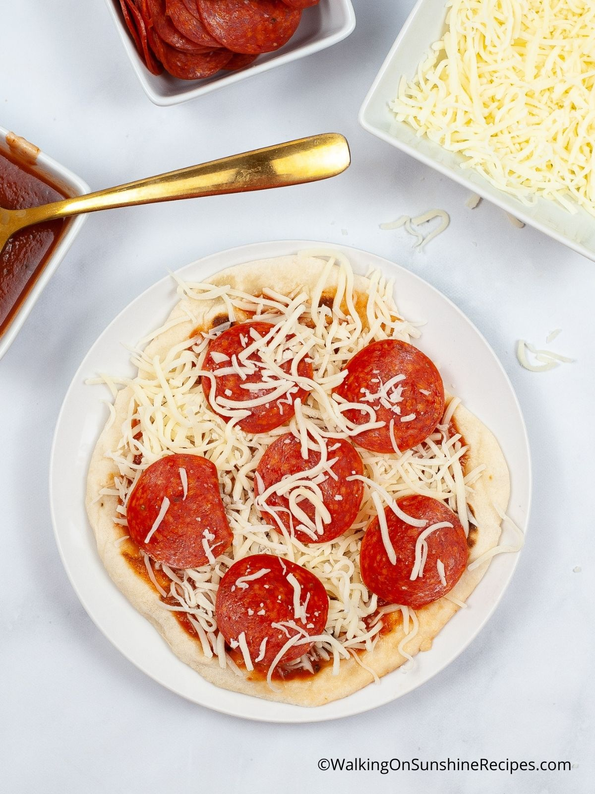air fryer pizza before baking.