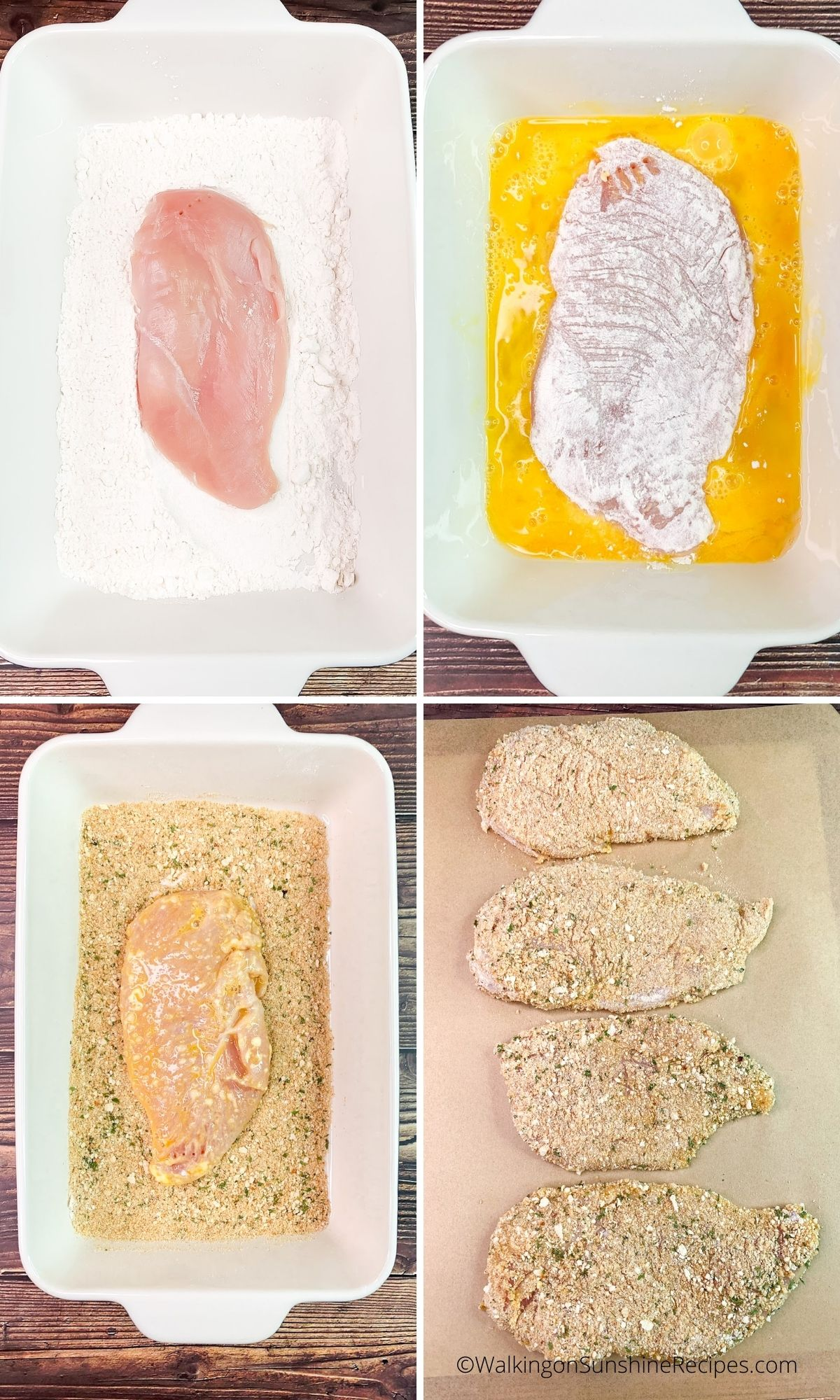 breadcrumbs, flour and egg mixture for chicken.