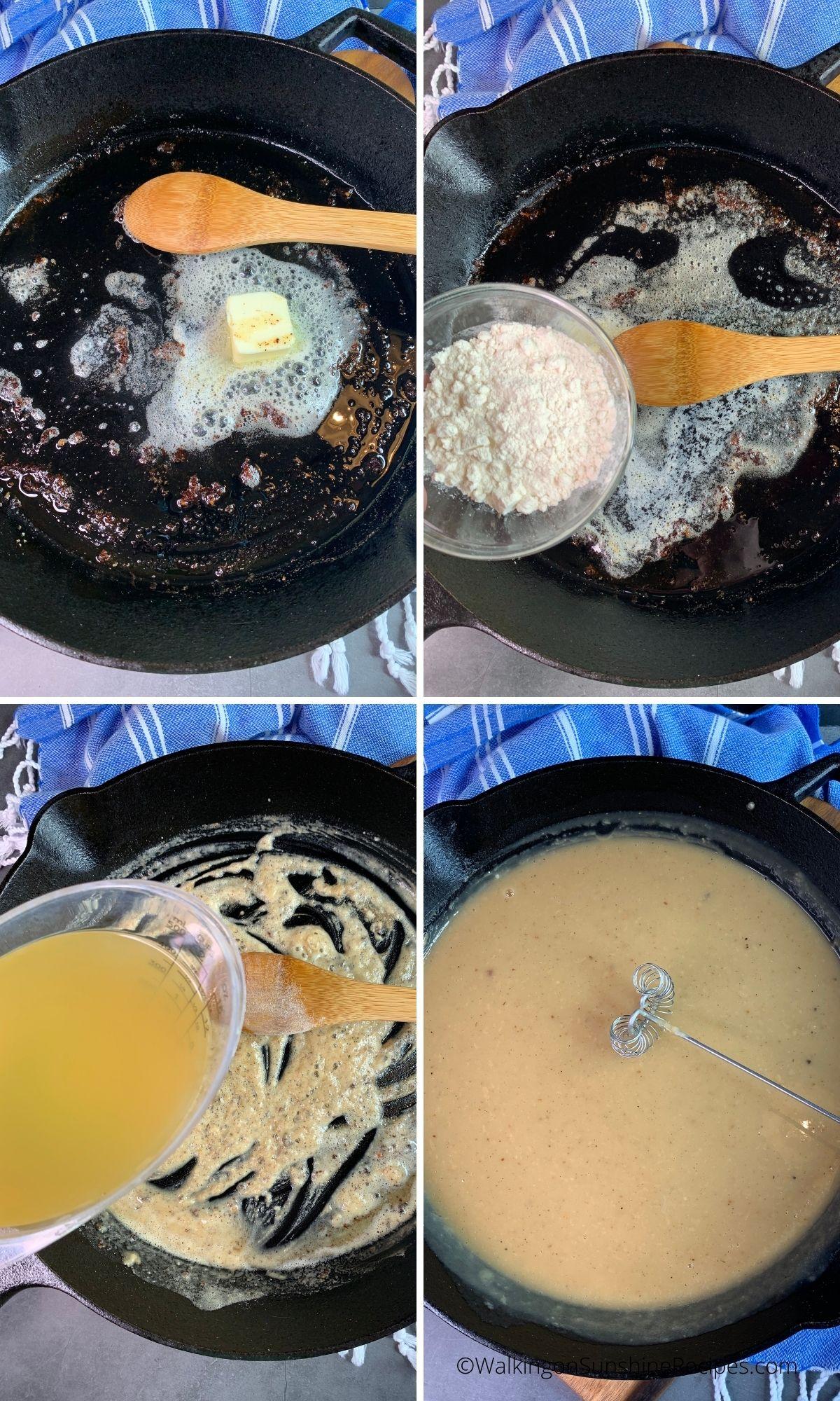 making homemade gravy in cast iron pan.