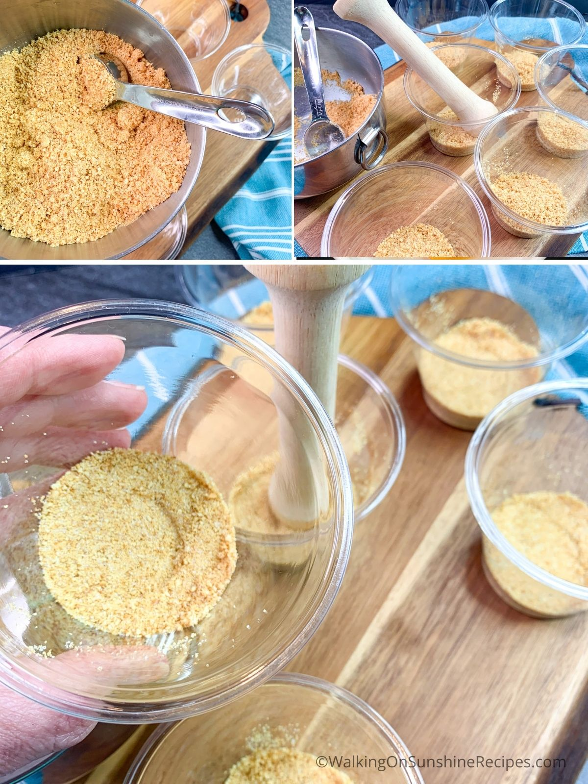 Add crushed graham crackers to small cups.