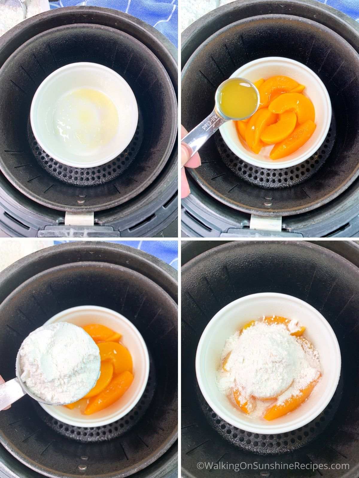 Add ingredients to baking dish in air fryer.