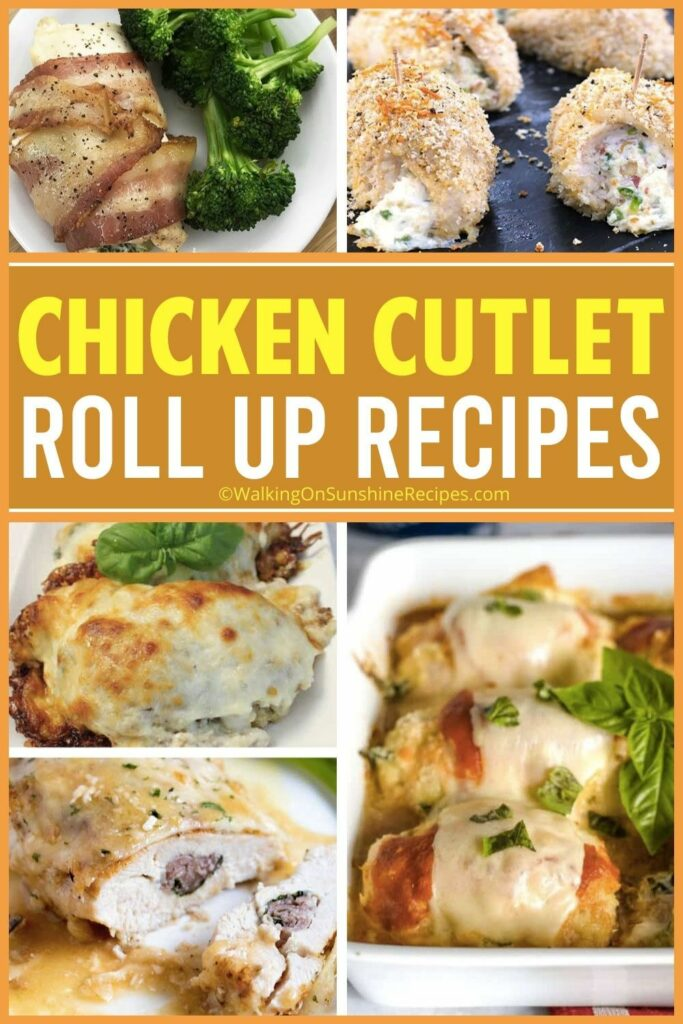 20 different chicken recipes rolled up with savory ingredients.