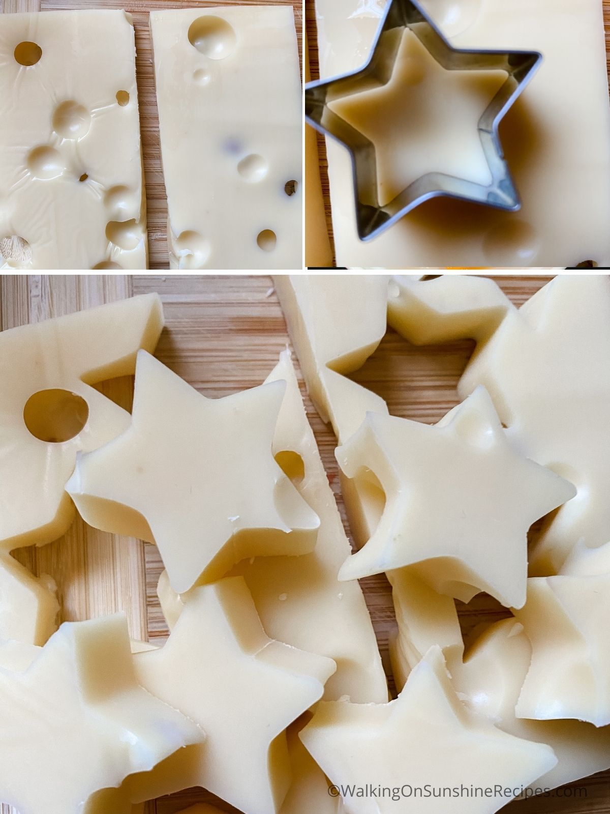 Cut star shapes in Swiss cheese.