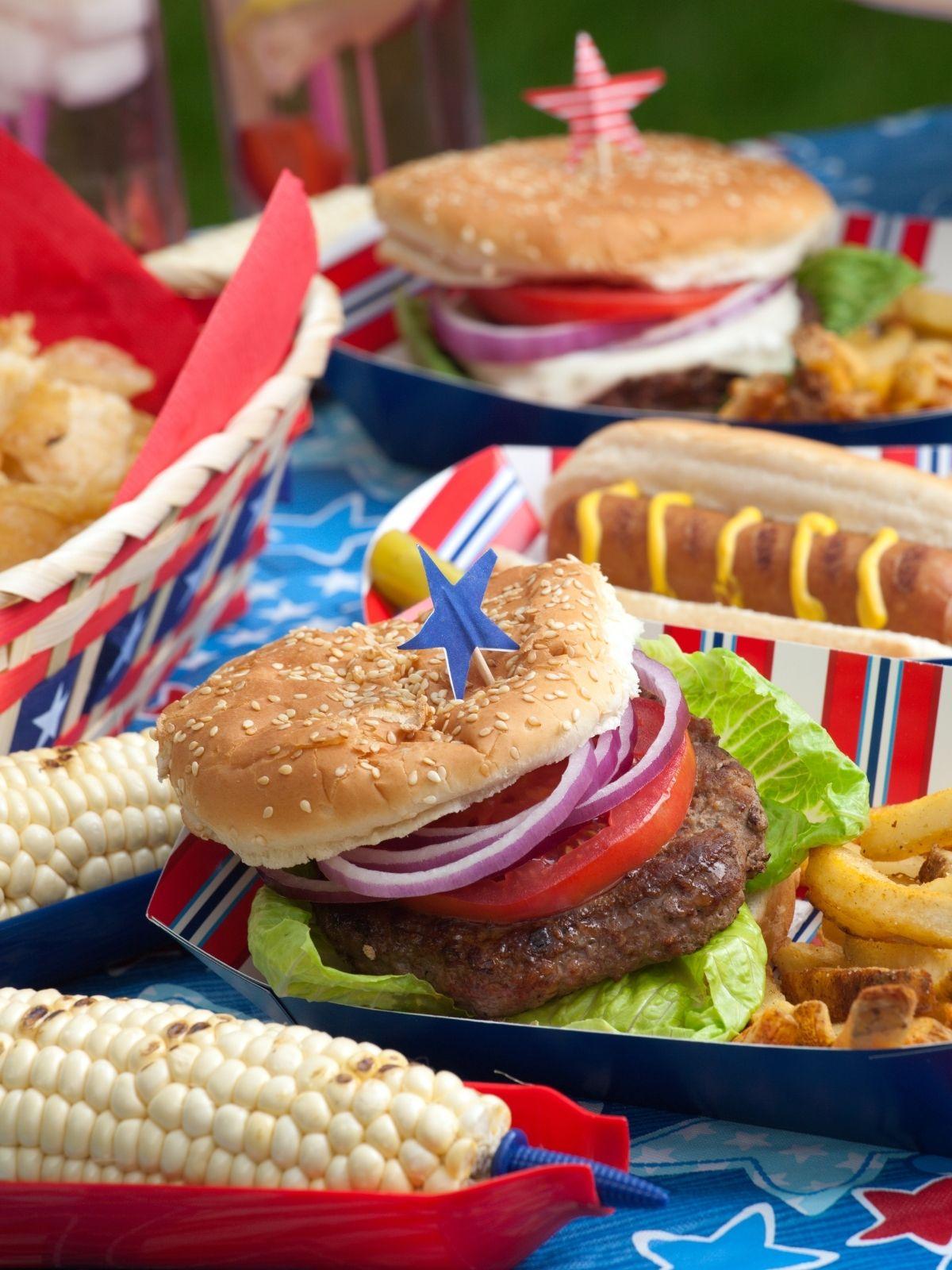 Hamburger, hot dog, corn on the cob, Traditional 4th of July Food