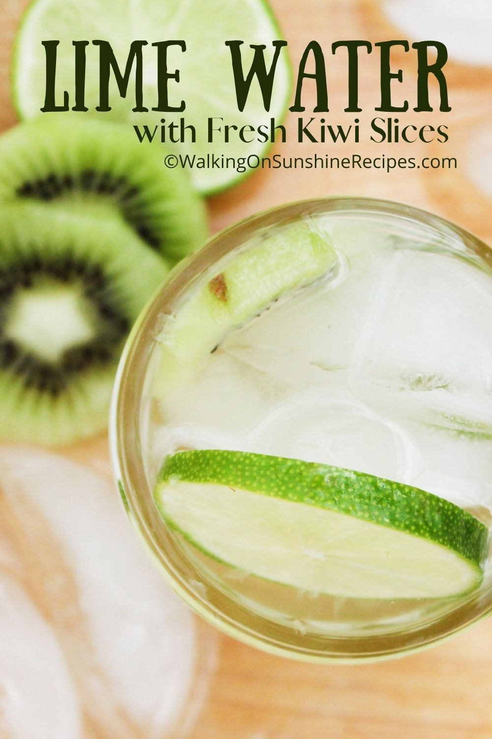 lime water in mason jar with kiwi slices.