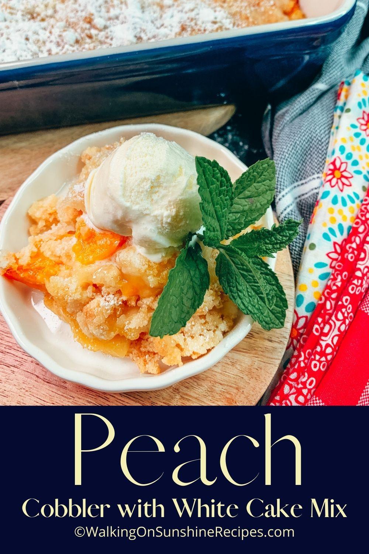 peach cobbler with fresh mint