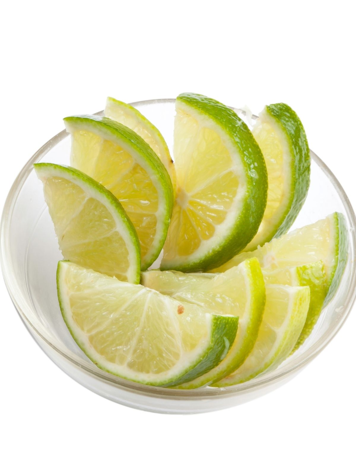 Lime slices in bowl.