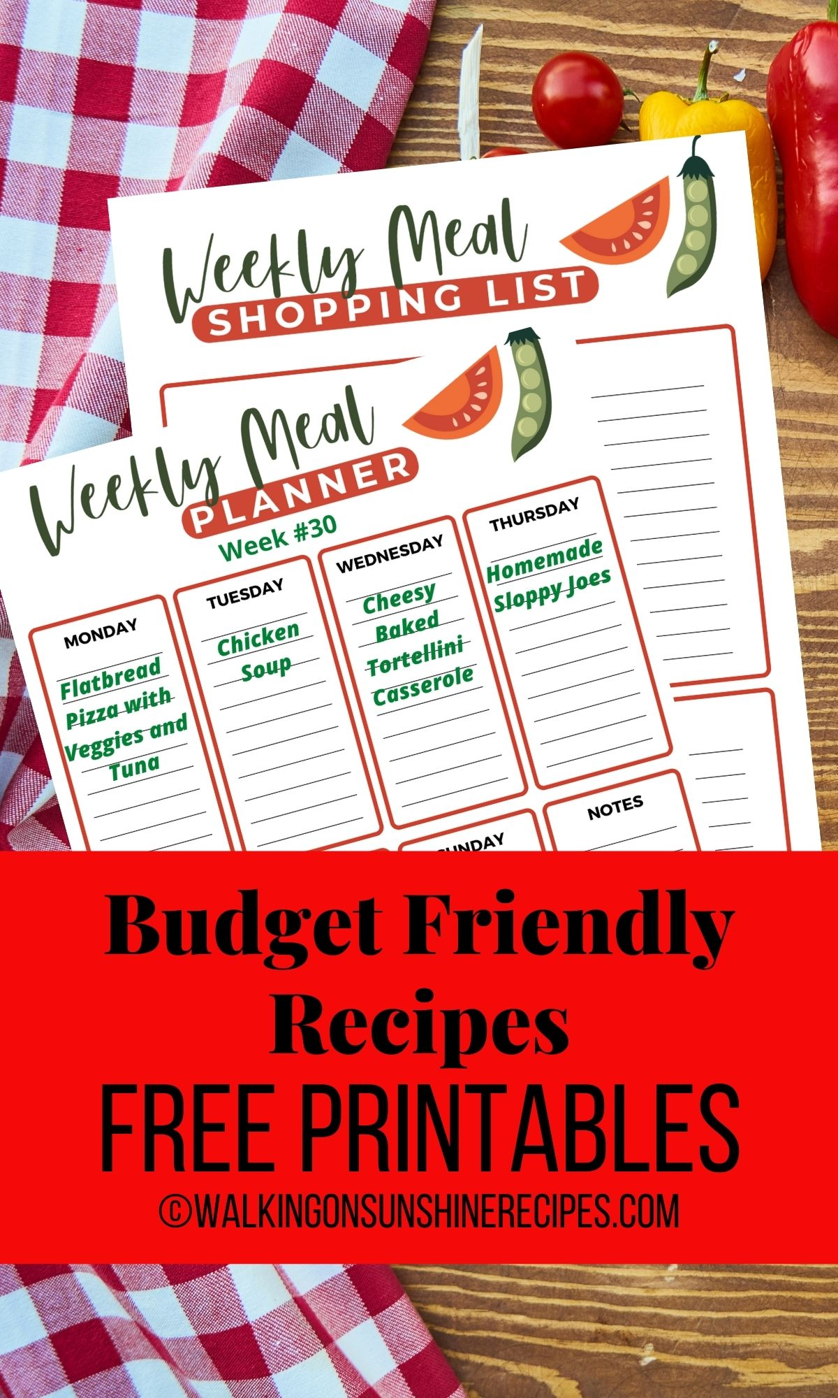 printable meal plans, shopping list and freezer list.