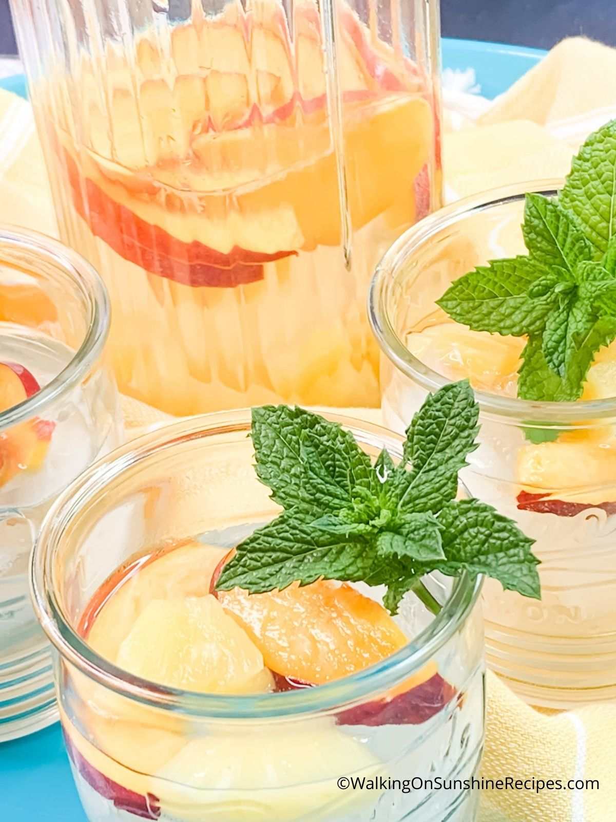 Coconut Infused Water in pitcher with two glasses and mint.