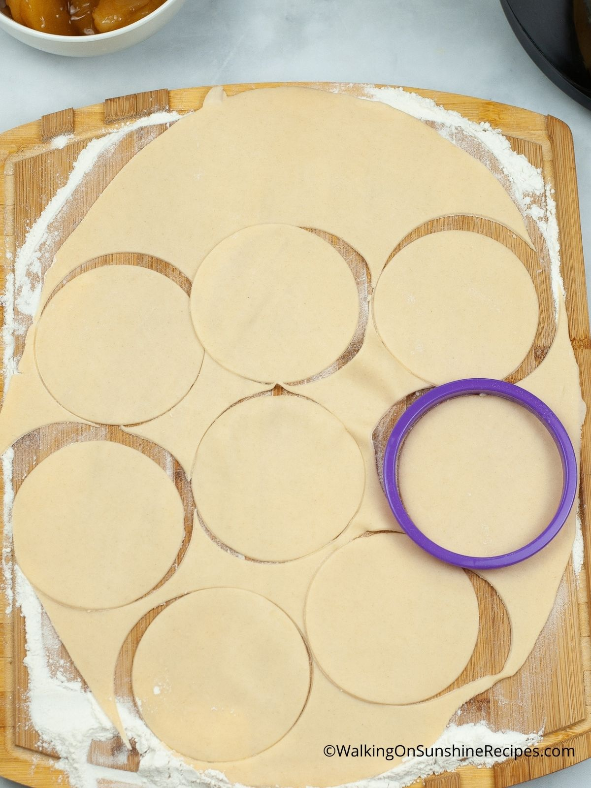 Cut out circle shapes with cookie cutter.