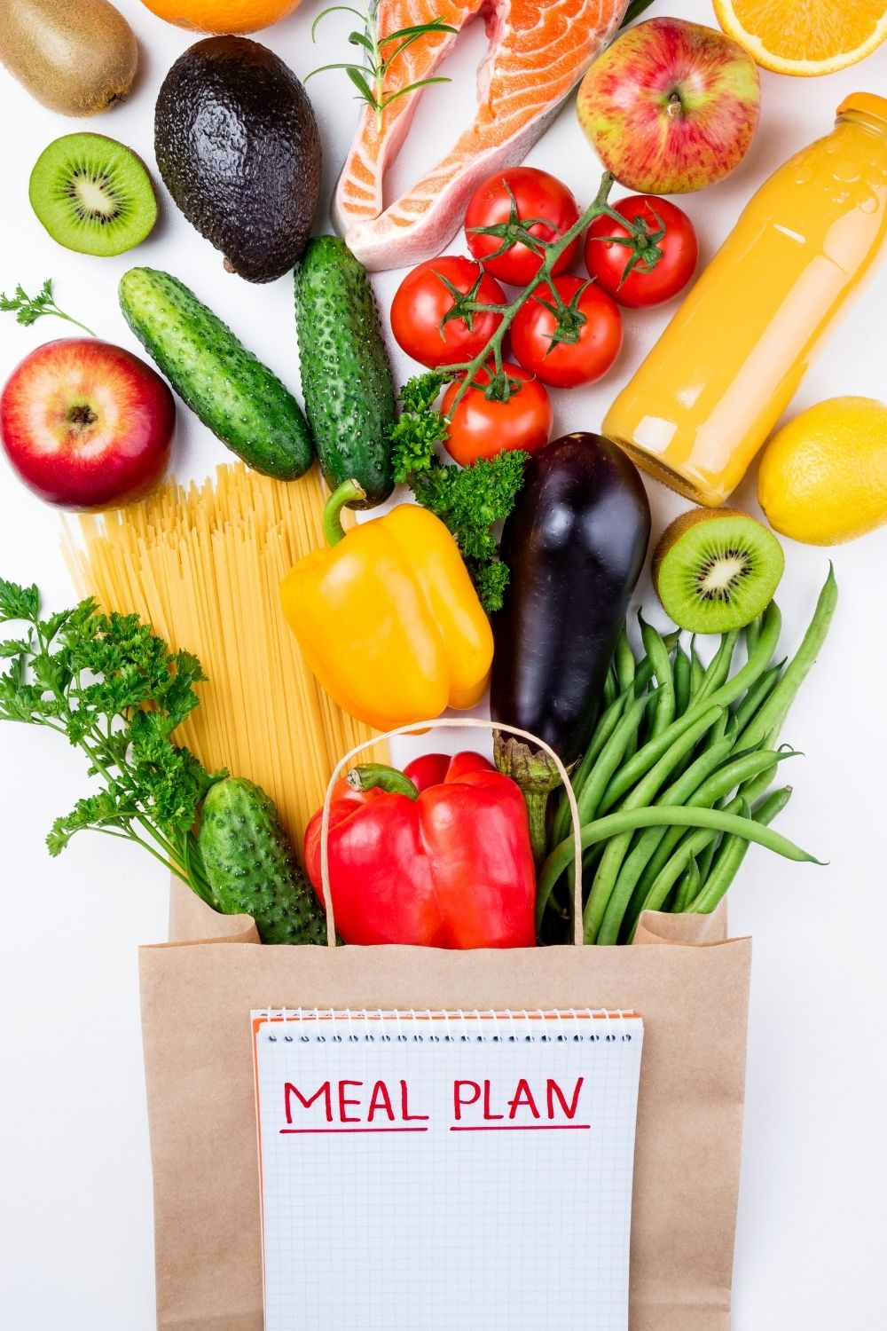 Grocery bag full of food for easy meal plans for two.