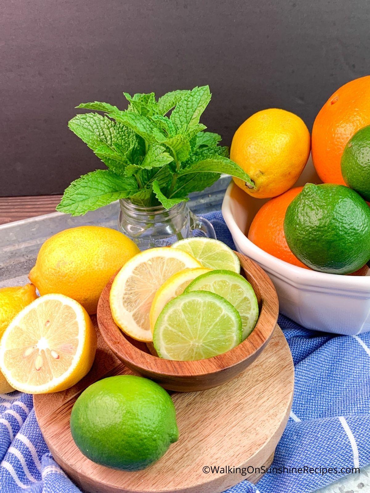 Ingredients, limes, lemons and organges.