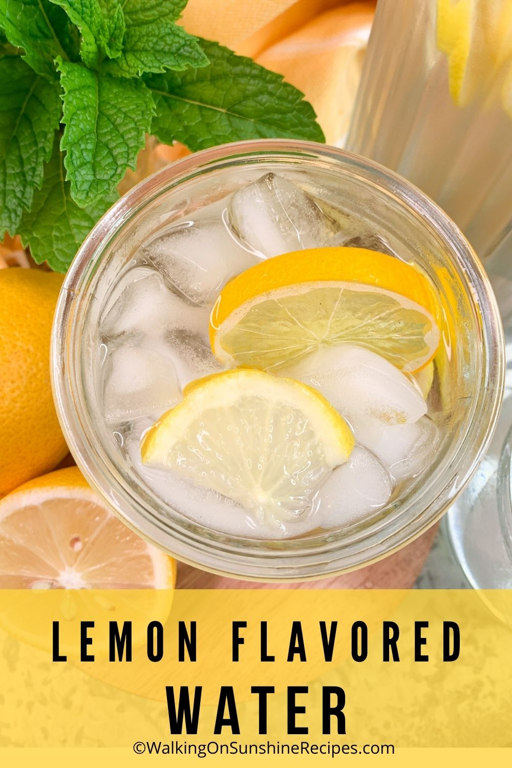 water flavored with lemons and ice cubes.