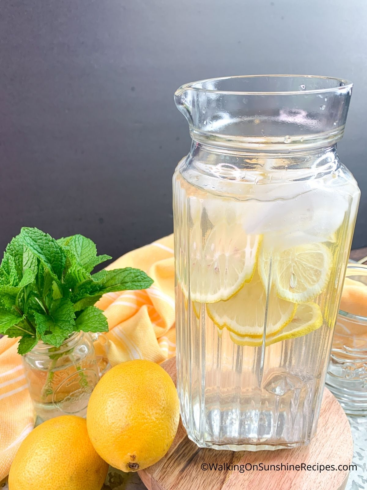Pitcher of Lemon Flavored Water.