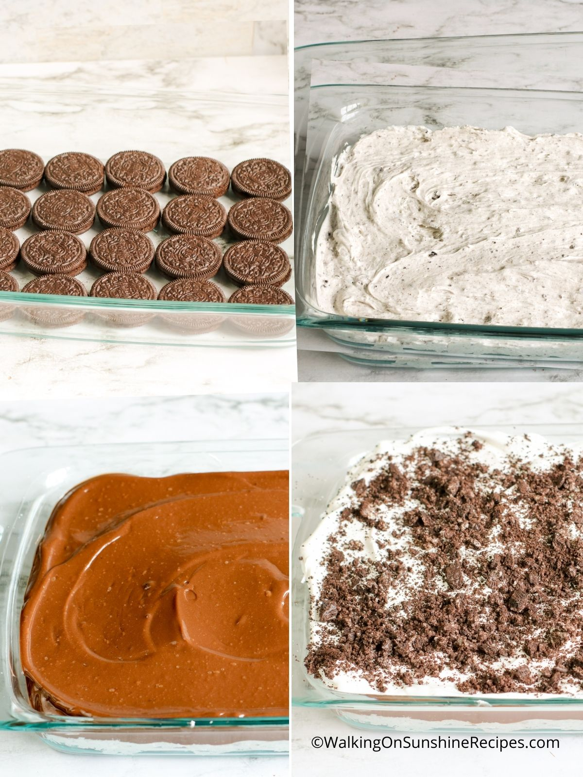 Process photos for Oreo Pudding Dessert in baking dish.
