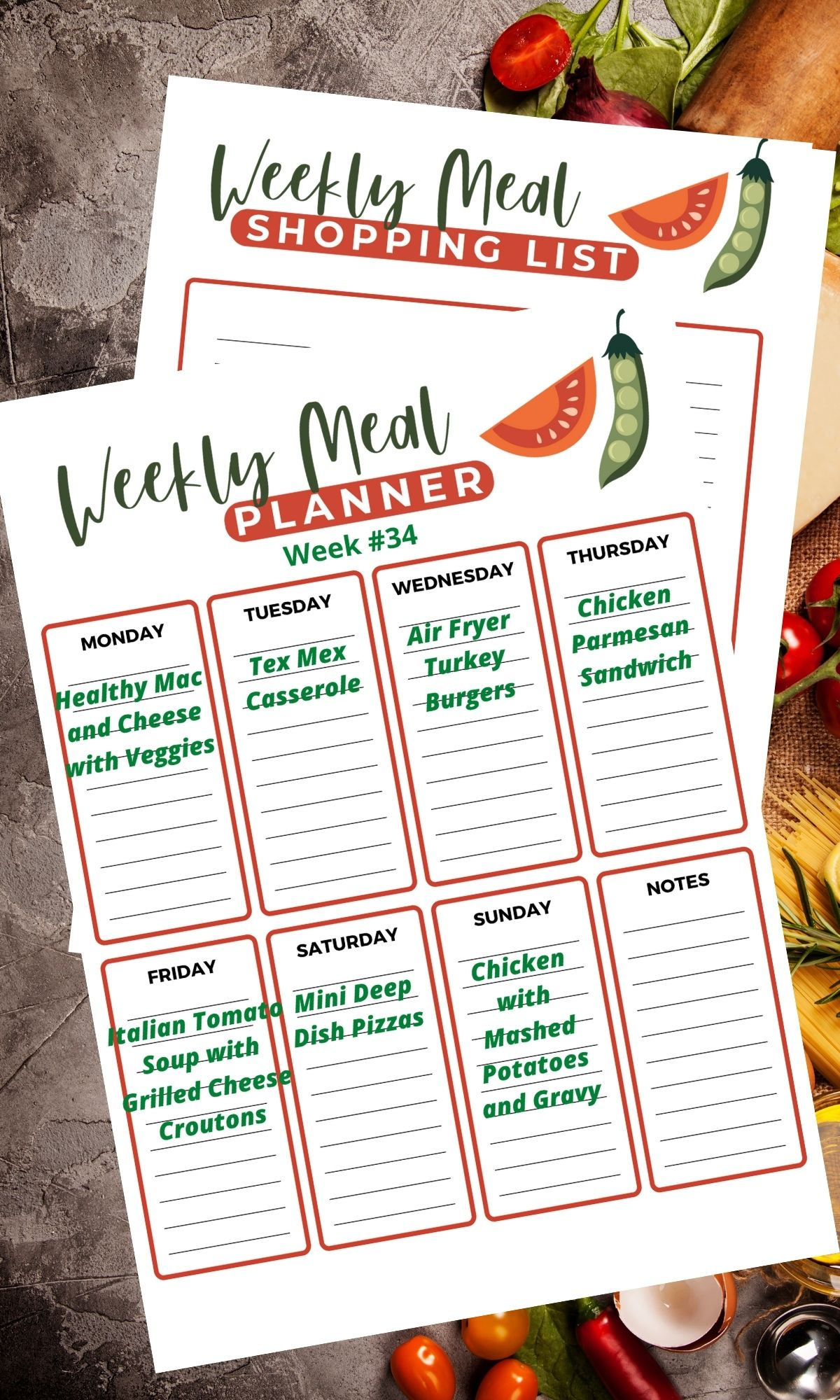 weekly calendar with meal plan.