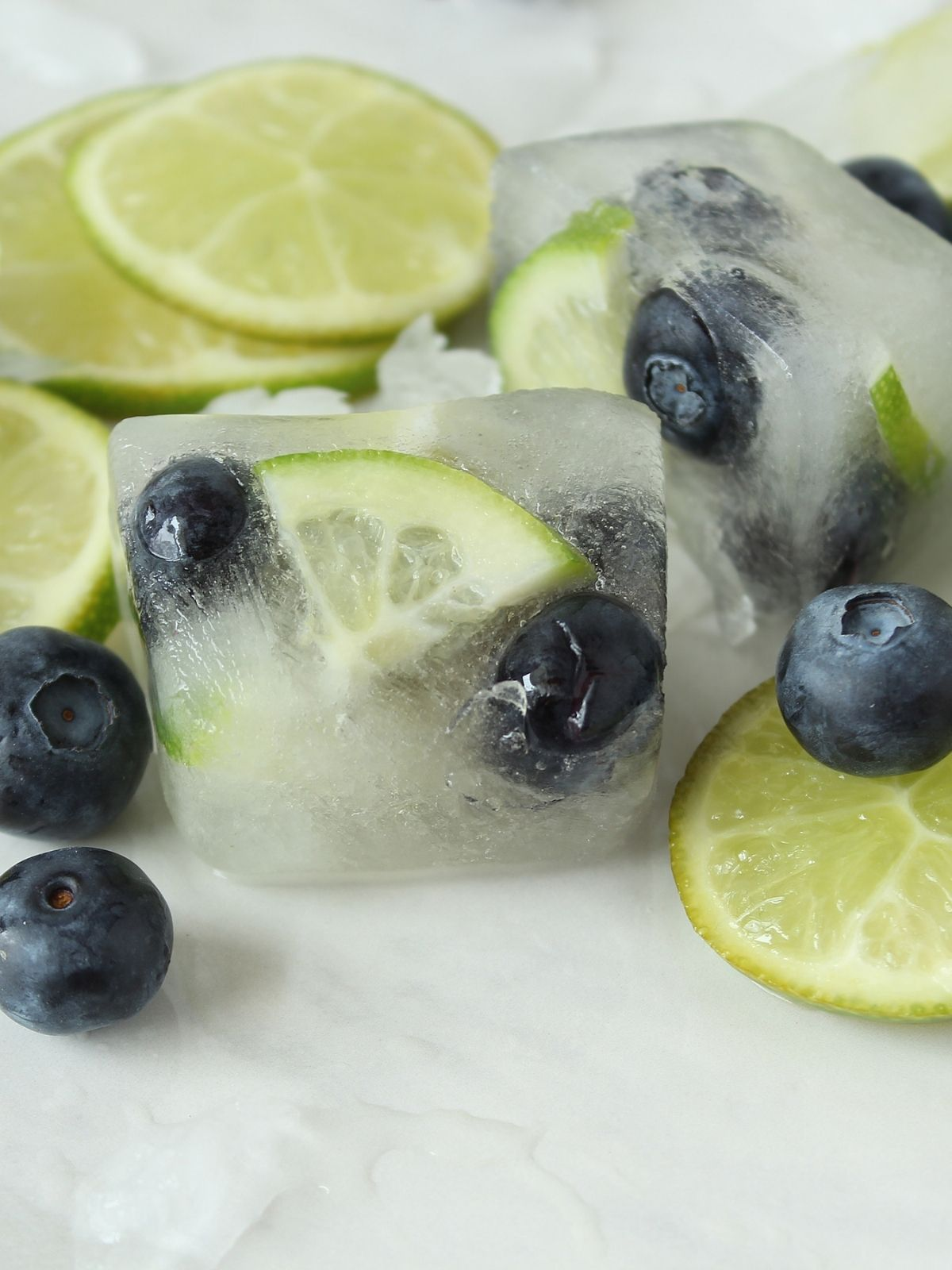 Limes and Blueberries in Ice Cubes