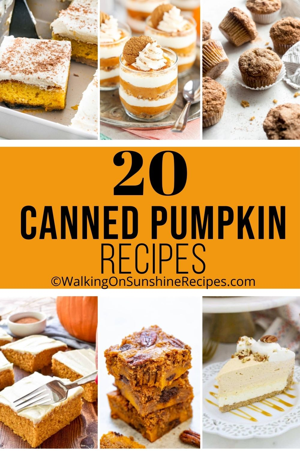 A collection of pumpkin desserts and recipes.