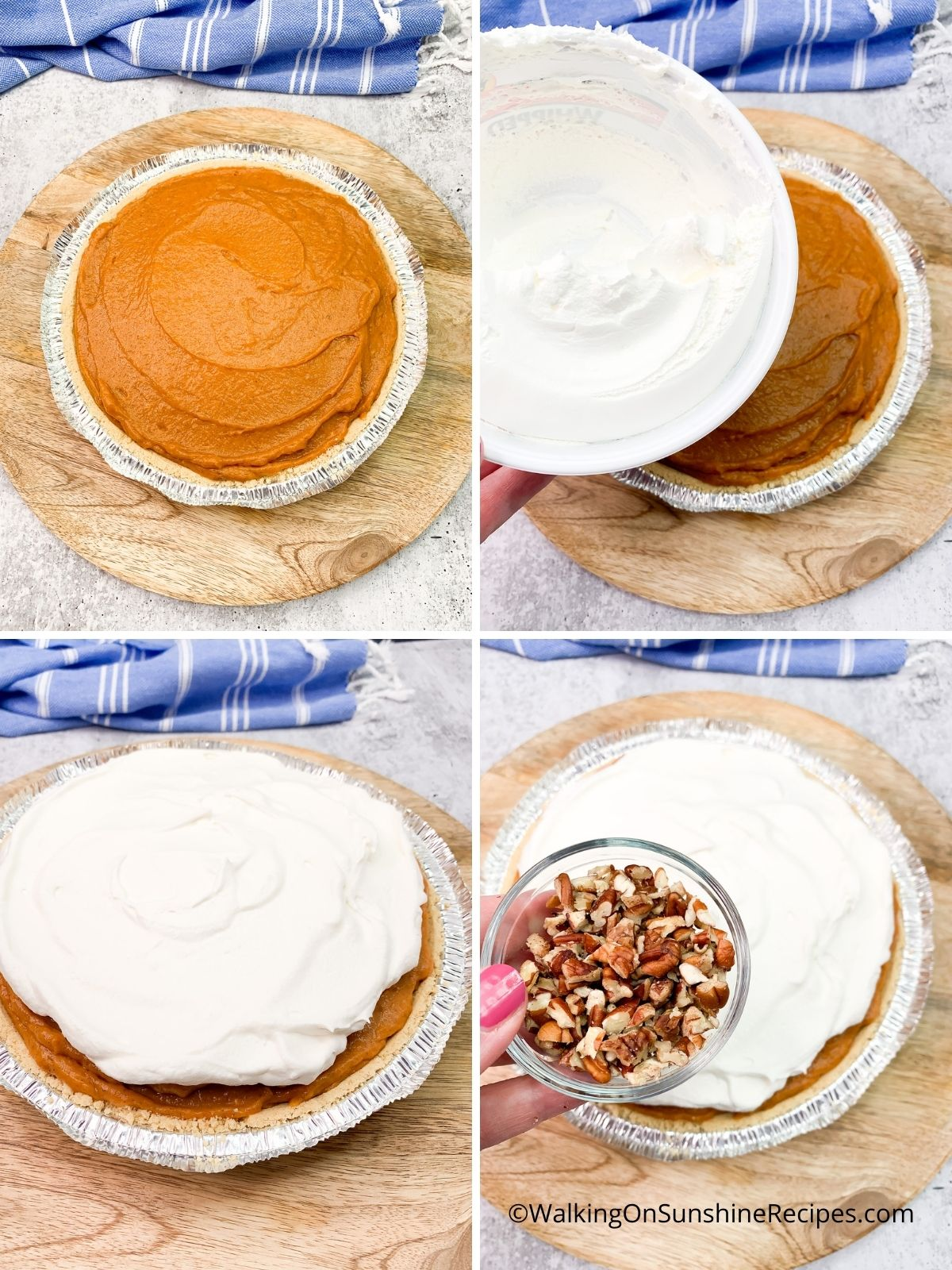 Add Cool Whip topping to the top of pumpkin mixture.