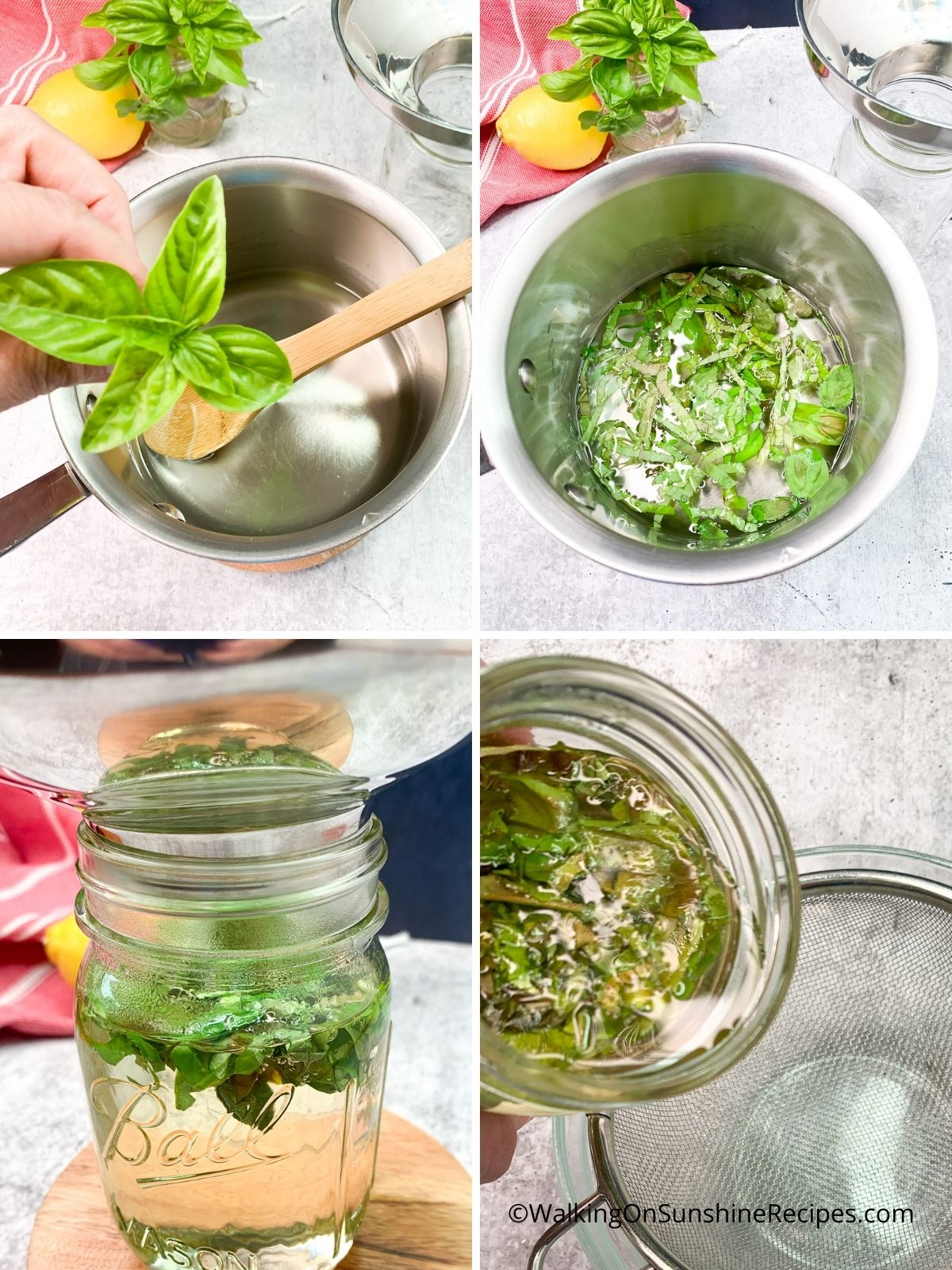 Add basil leaves to simple syrup.
