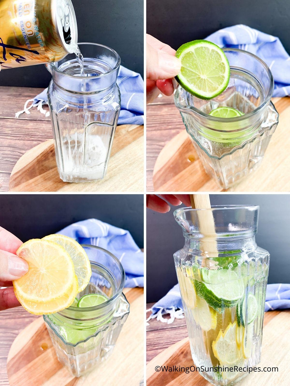 Add limes, lemon to pitcher.