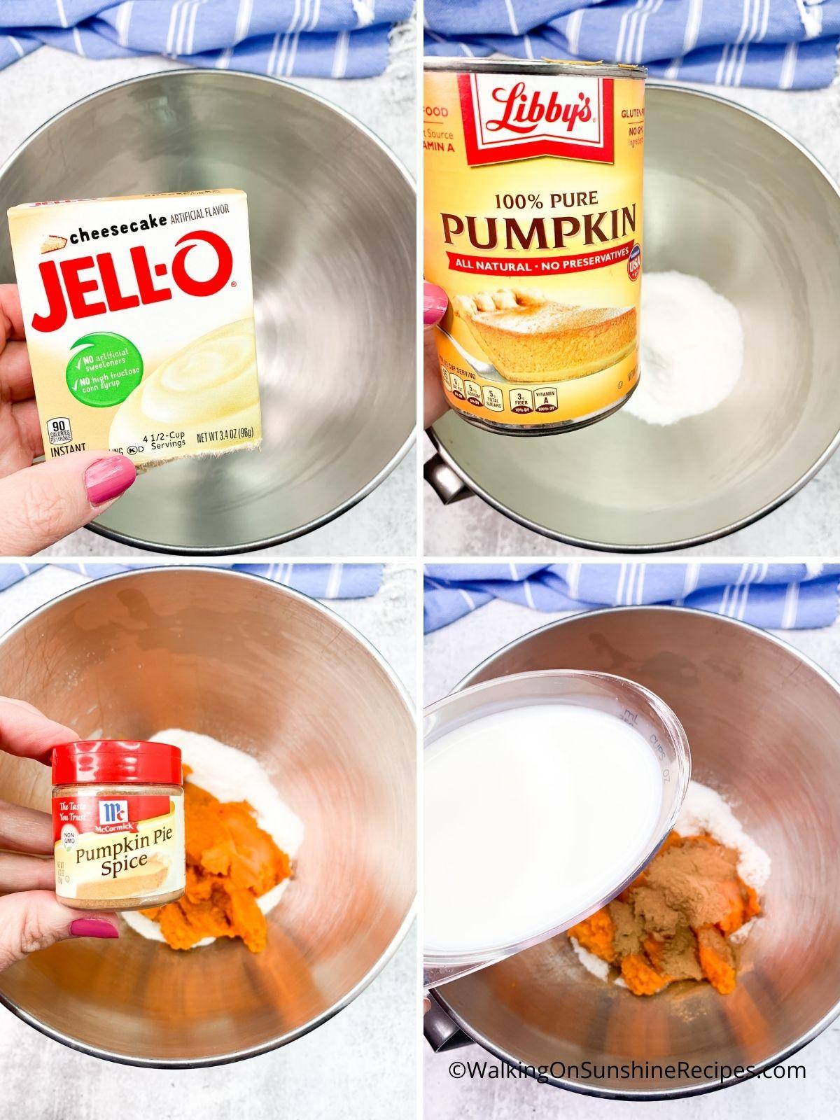 Add pudding mix, pumpkin and milk.