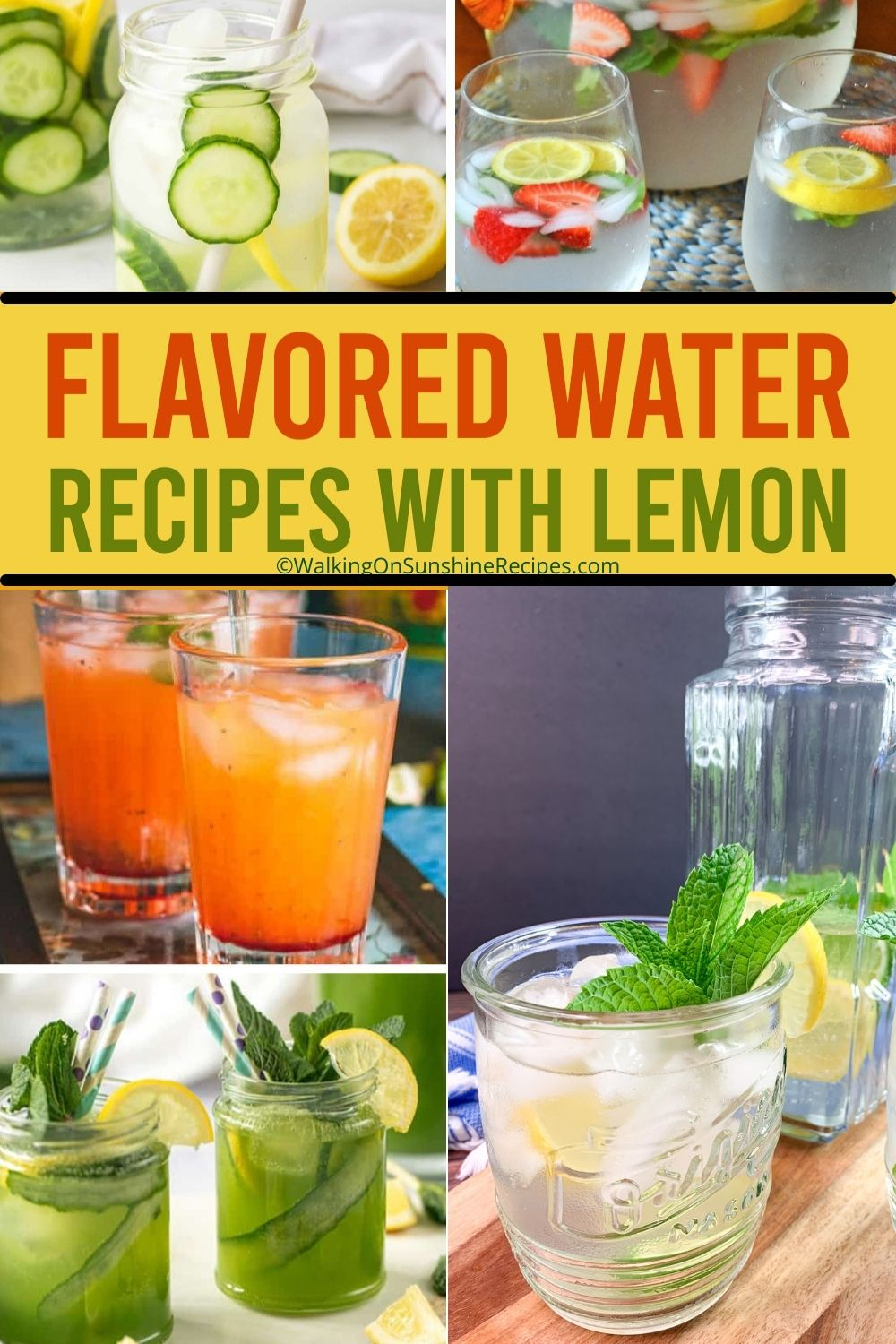 Flavored Water Recipes with Lemon Pin