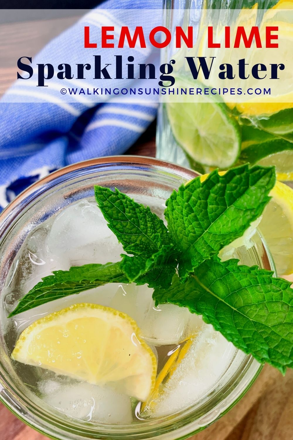 glass of lemon lime sparkling water with sprig of mint.