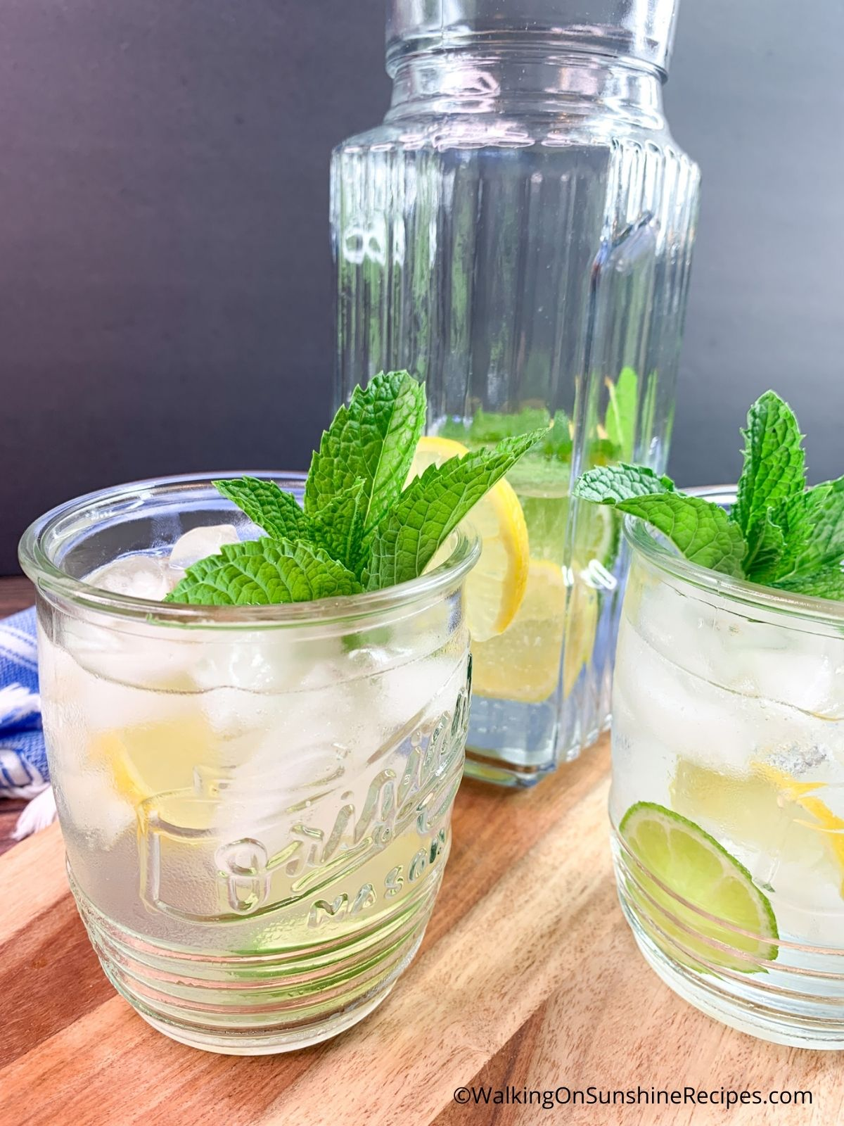 Lemon Lime Sparkling Water in glass and in pitcher.