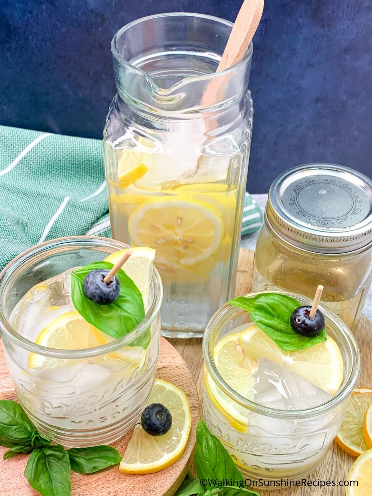 Lemon Water with Basil Simple Syrup.