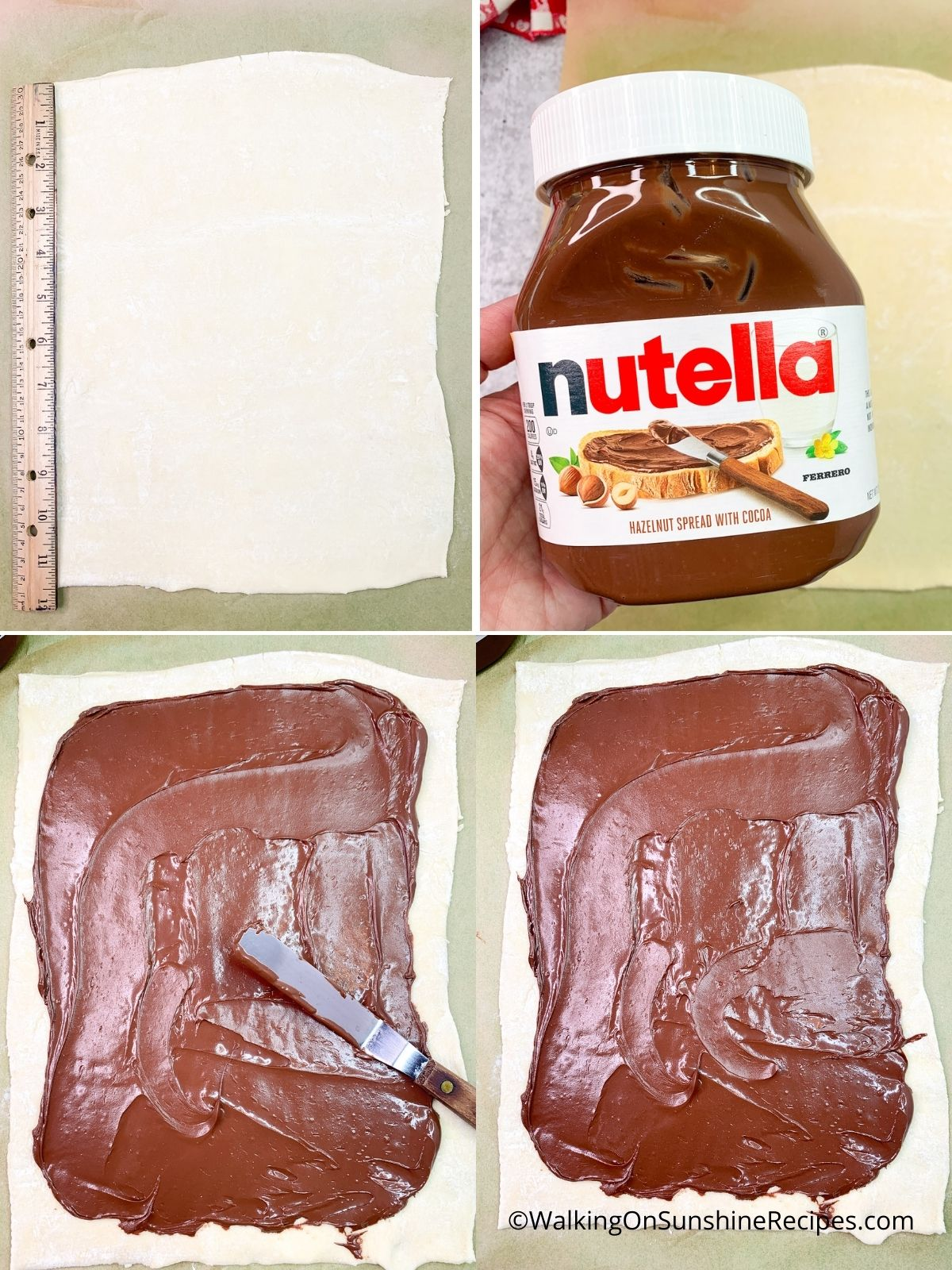 Spread Nutella on Puff Pastry