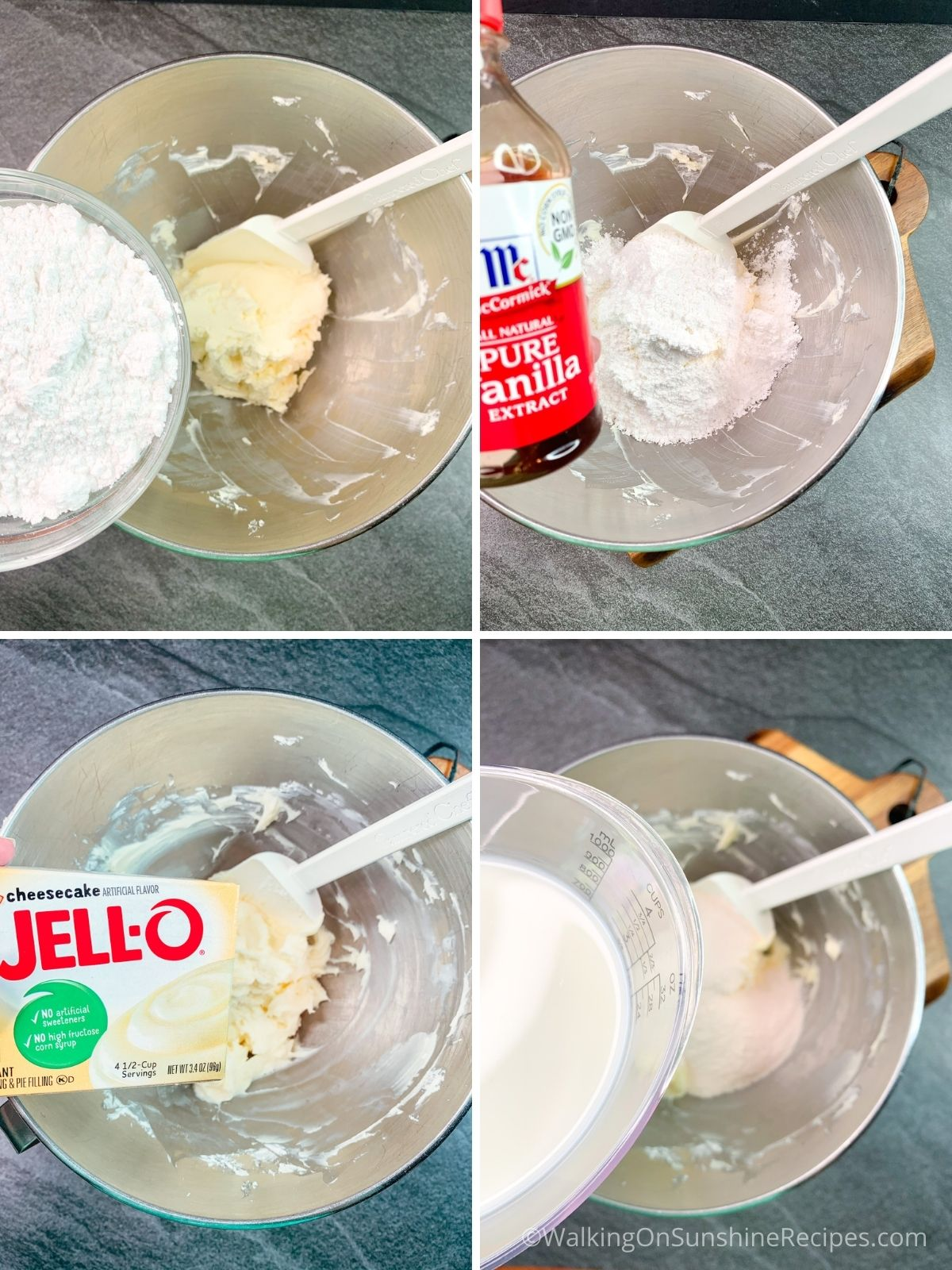 Adding pudding mix to cheesecake.