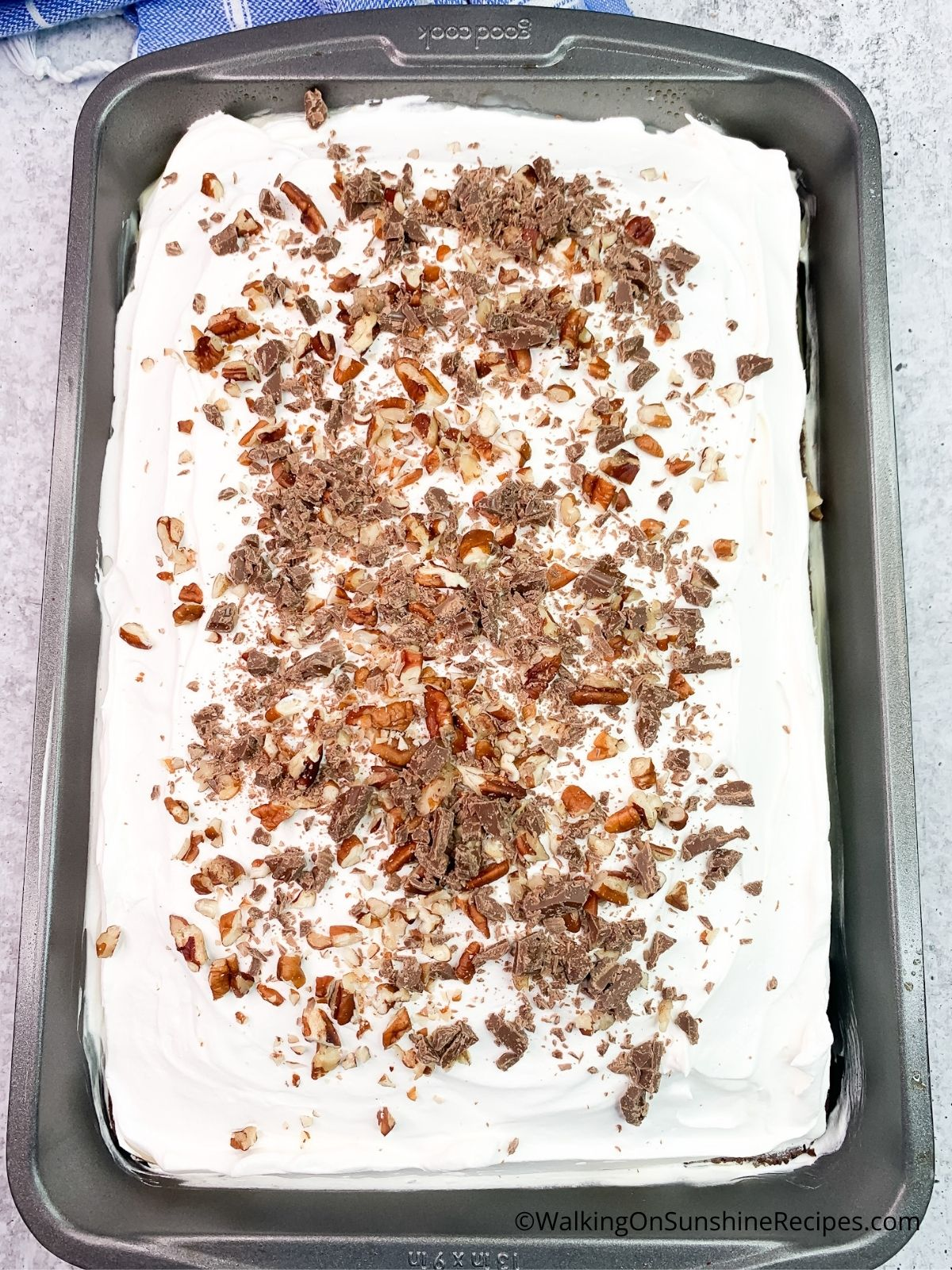 Chocolate cake with whipped topping, chocolate chips and chopped pecans.