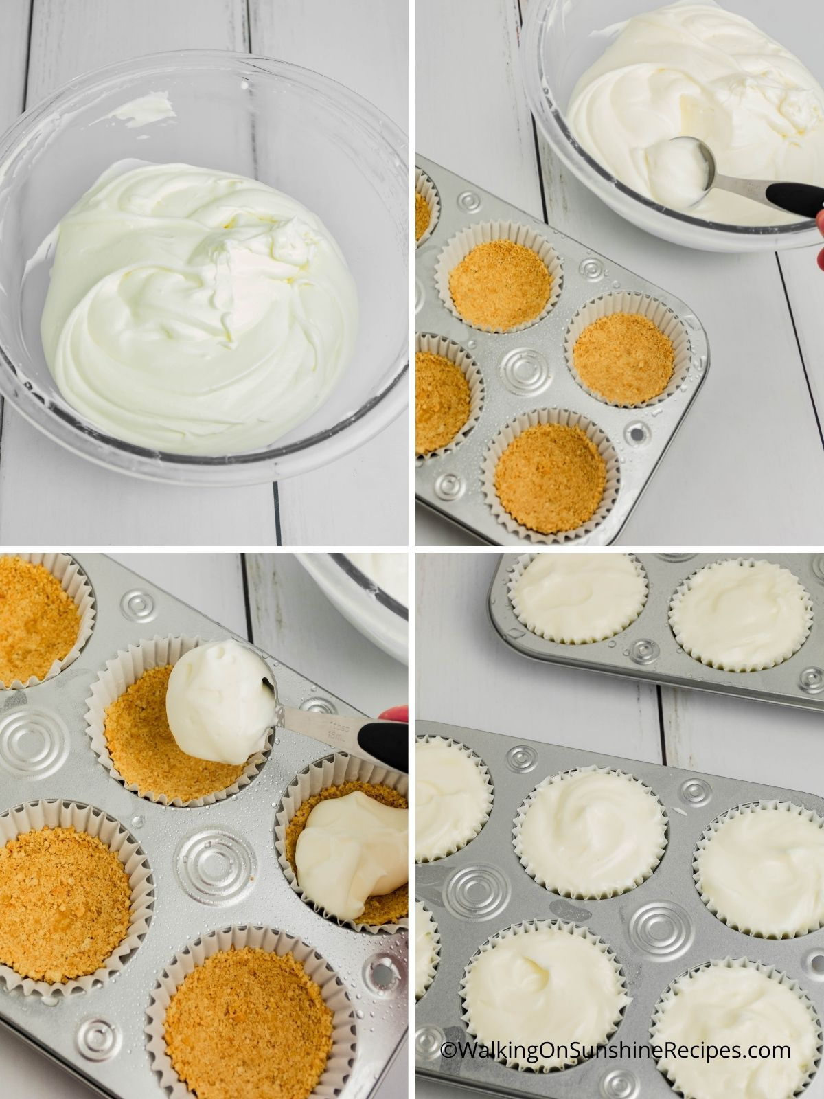 Fill muffin pans with cream cheese vanilla pudding mixture.